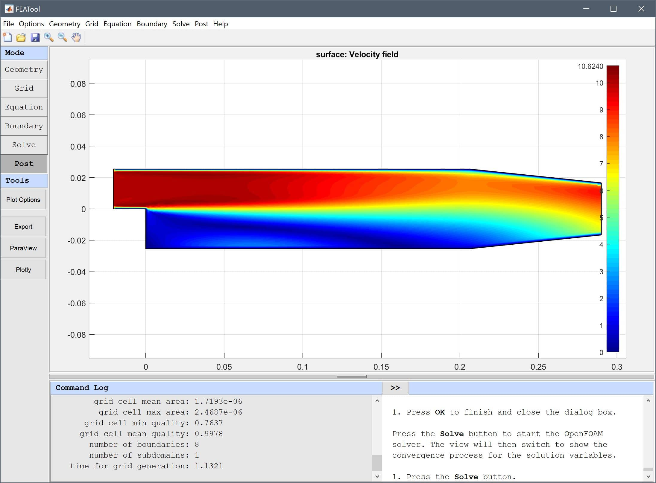 FEATool Multiphysics Tutorial - Using OpenFOAM to Simulate Turbulent Flow Over a Backwards Facing Step