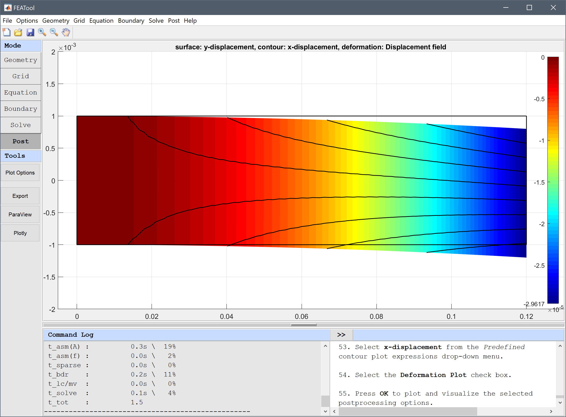 FEATool Multiphysics Tutorial - Modeling and Simulation of Piezo Electric Bending of a Beam