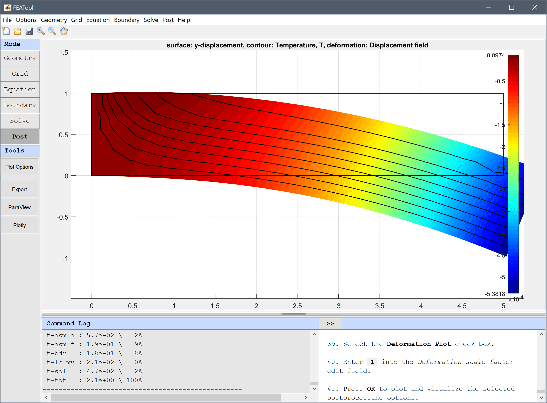 FEATool Multiphysics Tutorial - Modeling and Simulation of Thermo-Mechanical Bending of a Beam