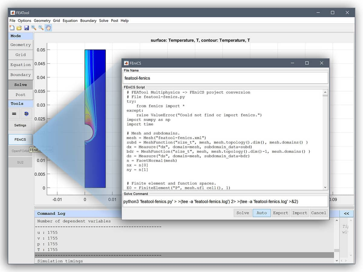 FEniCS Python FEM Solver and Multiphysics GUI with FEATool