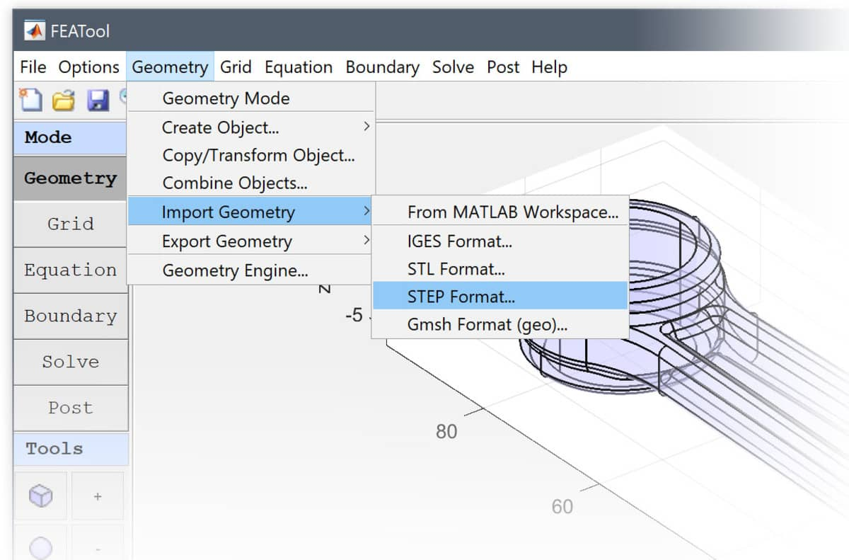 FEATool Multiphysics - Geometry and CAD Import Menu Options
