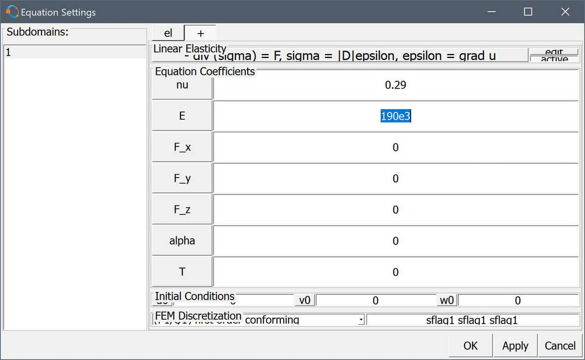 FEATool and Matlab CAD Import Equation Settings