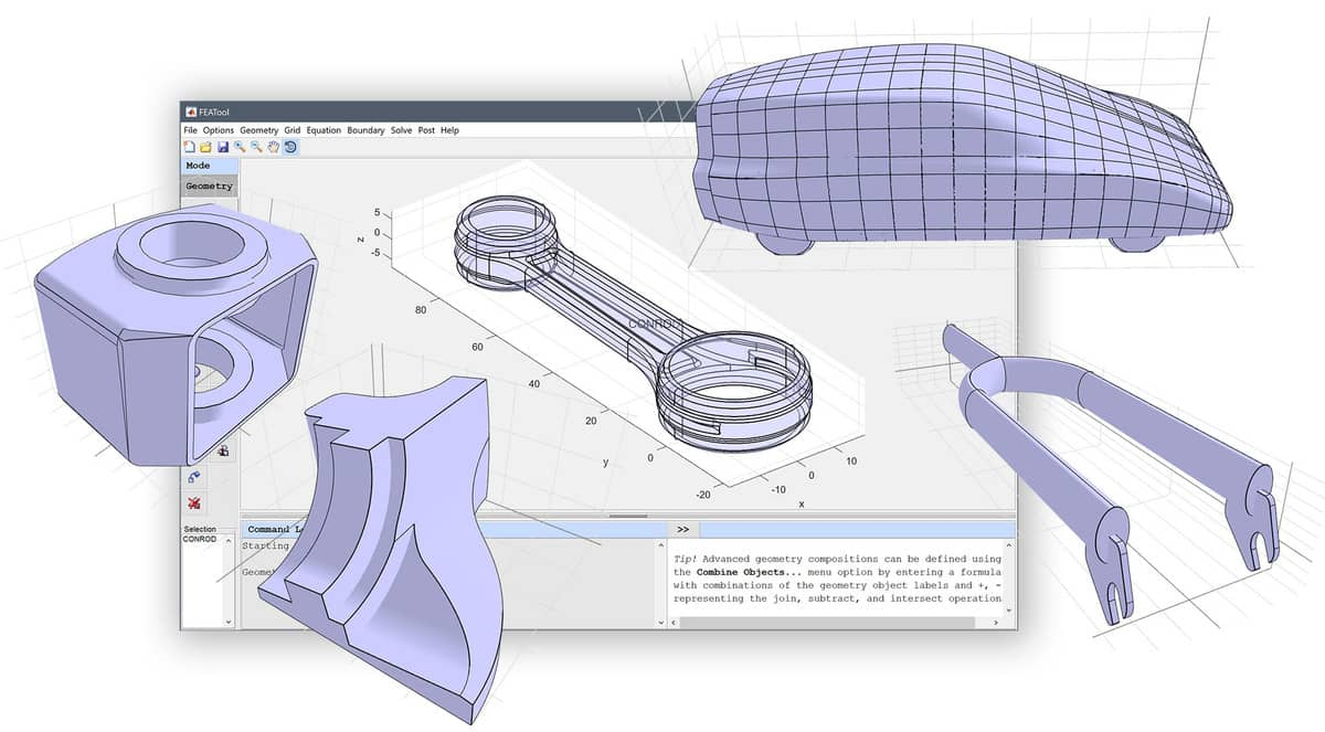 FEATool Multiphysics 1.11.1 - IGES, STEP, and STL CAD Geometry Import