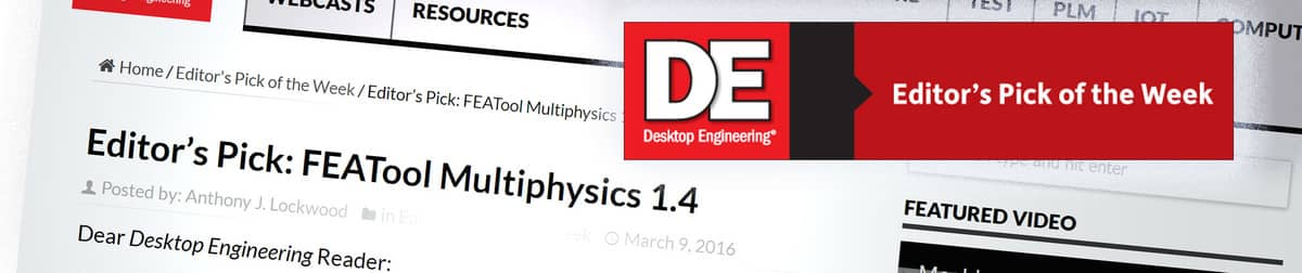 Banner - FEATool Multiphysics is DeskEng Pick of the Week