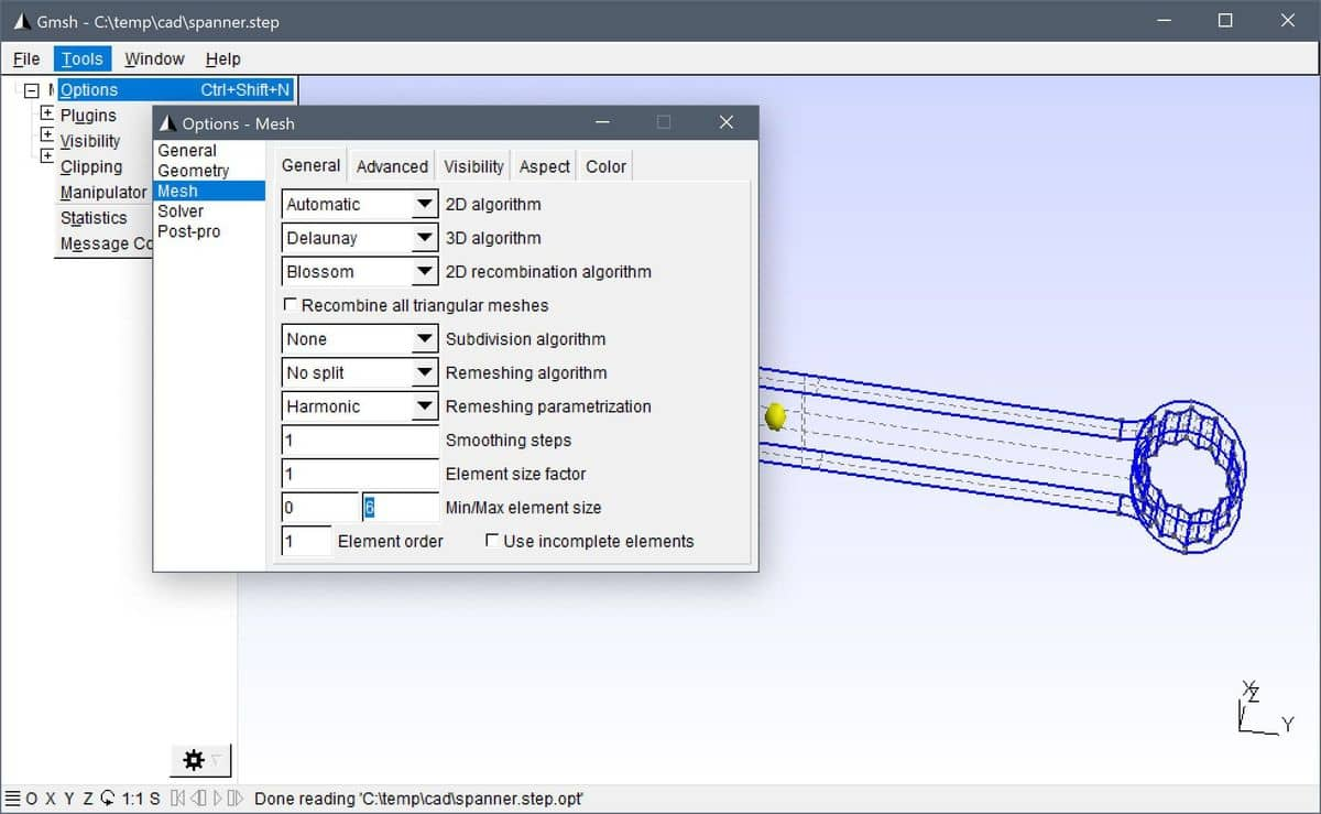 Gmsh CAD Step File Import And Mesh Generation Tutorial - Options