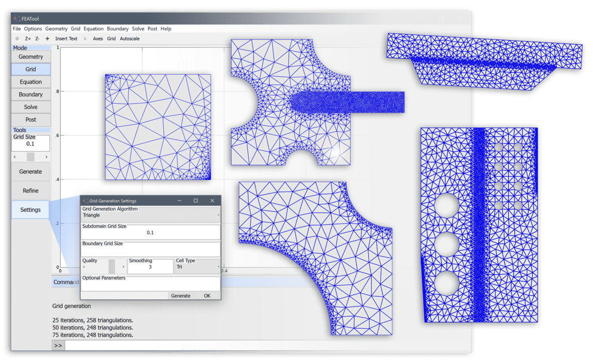 Unstructured MATLAB 2D Mesh and Grid Generation using
